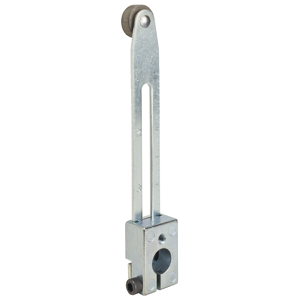 Limit switch lever arm, 9007C, bendable adjustable lever arm, 0.625 inch diameter roller, 0.25 inch wide roller