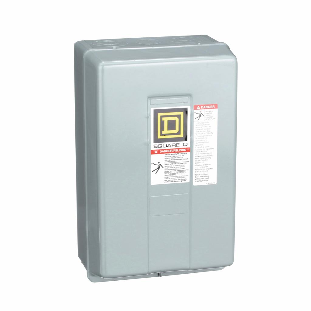 8903L electrically held lighting contactor, 12 P, 12 NO, 30 A, 600 V, 110/120 V 50/60 Hz coil, NEMA 1