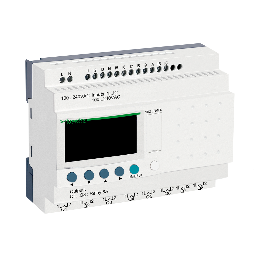 Compact smart relay Zelio Logic - 20 I O - 100..240 V AC - clock - display