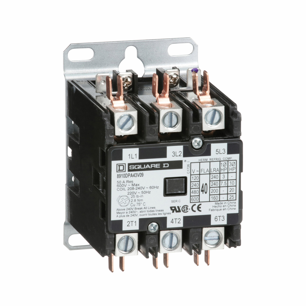 8910DPA definite purpose contactor, 40 A, 3P, 220/208 to 240 V 50/60 Hz coil, open