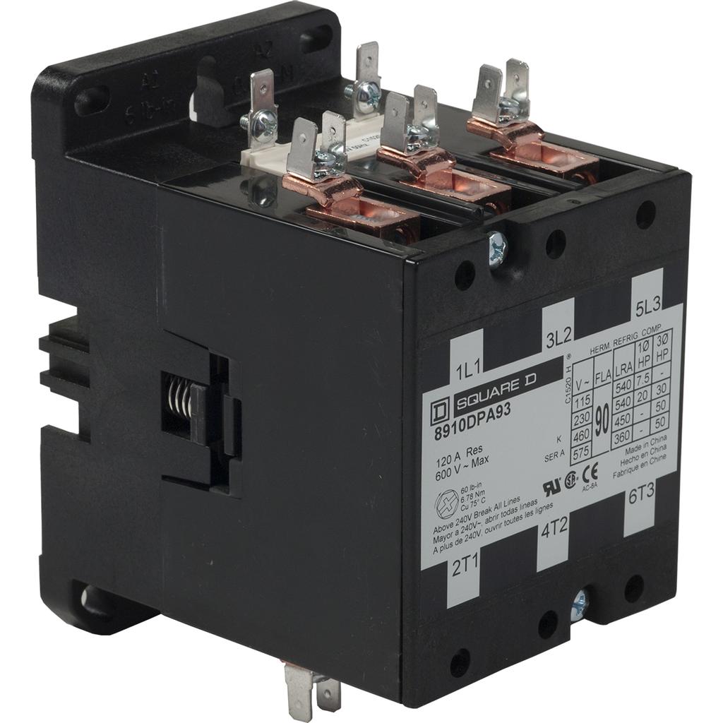 8910DPA definite purpose contactor, 90 A, 3P, 208/240 V 60 Hz 220 V 50 Hz coil, open