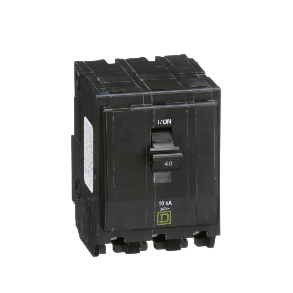 QO mini breaker, 40 A, 3 pole, 120/240 V, 10 kA, plug in