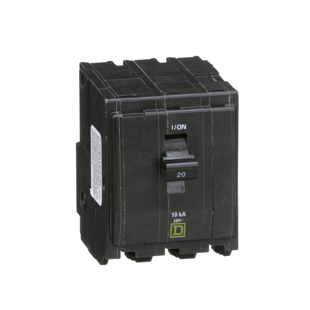 QO mini breaker, 20 A, 3 pole, 120/240 V, 10 kA, plug in