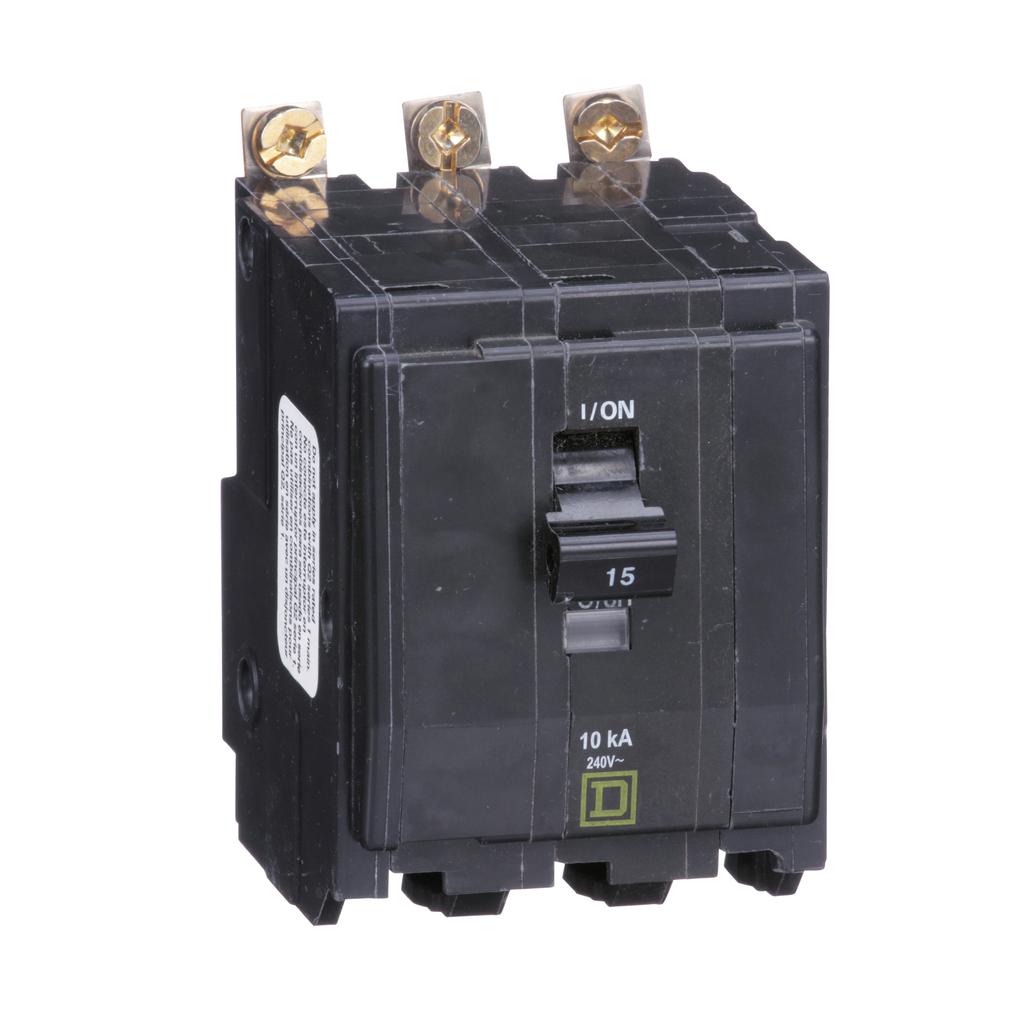 QO mini breaker, 15 A, 3 pole, 120/240 V, 10 kA, bolt on