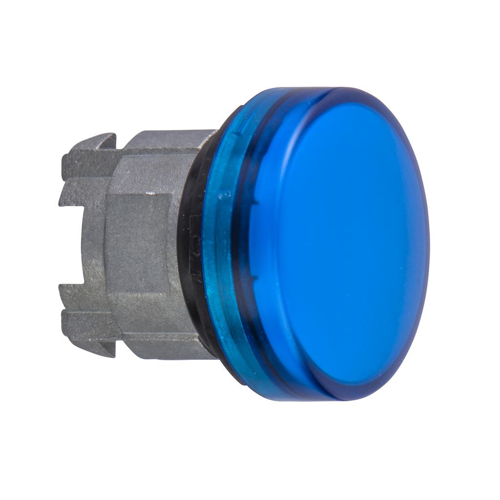 Blue pilot light head Ø22 with plain lens for integral LED