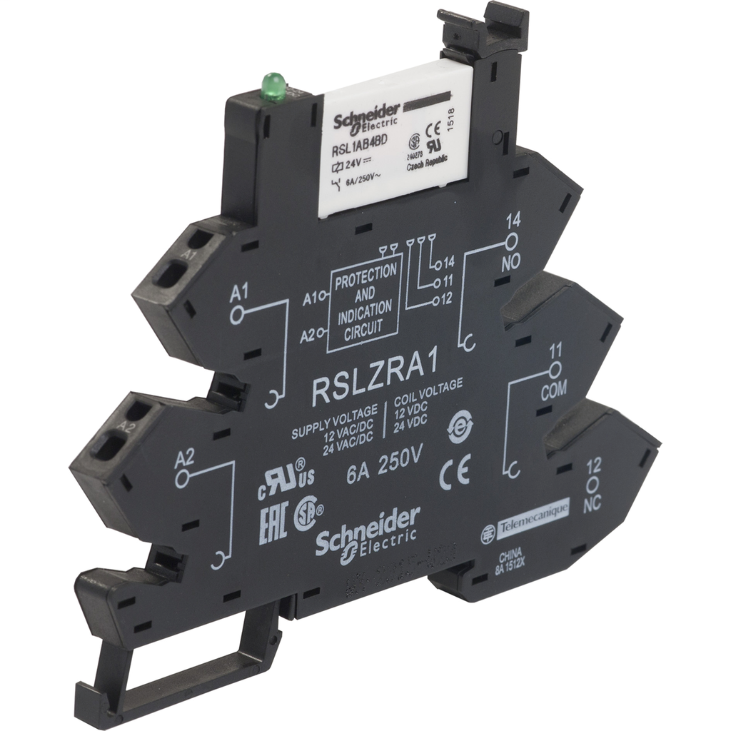Interface plug-in relay - Zelio RSL - 1 C/O - 24 V DC - 6 A - with LED