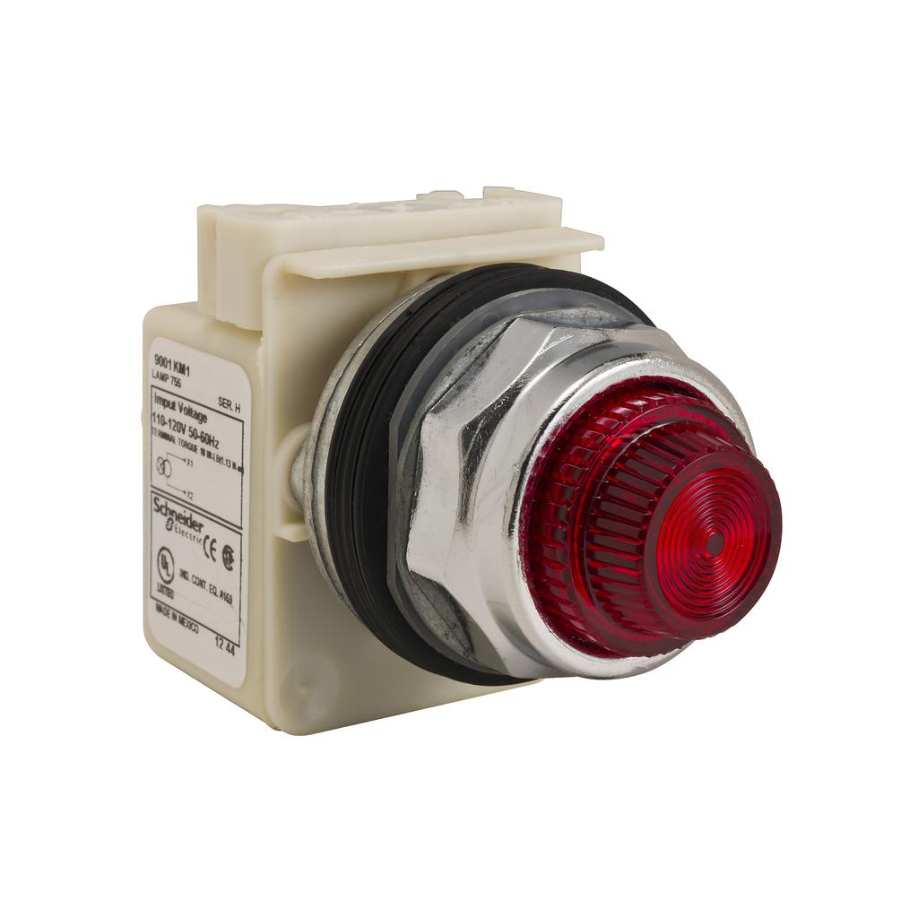 30mm Push Button, Type K, pilot light, transformer, 120 VAC, red fresnel cap