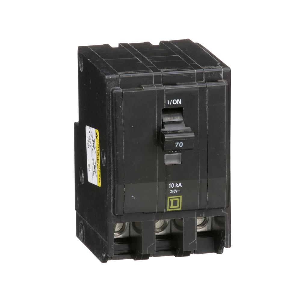 QO mini breaker, 70 A, 3 pole, 120/240 V, 10 kA, plug in