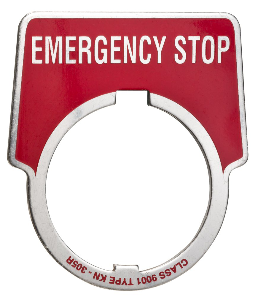 30mm Push Button, Type K, aluminum legend plate, red, marked EMERG STOP