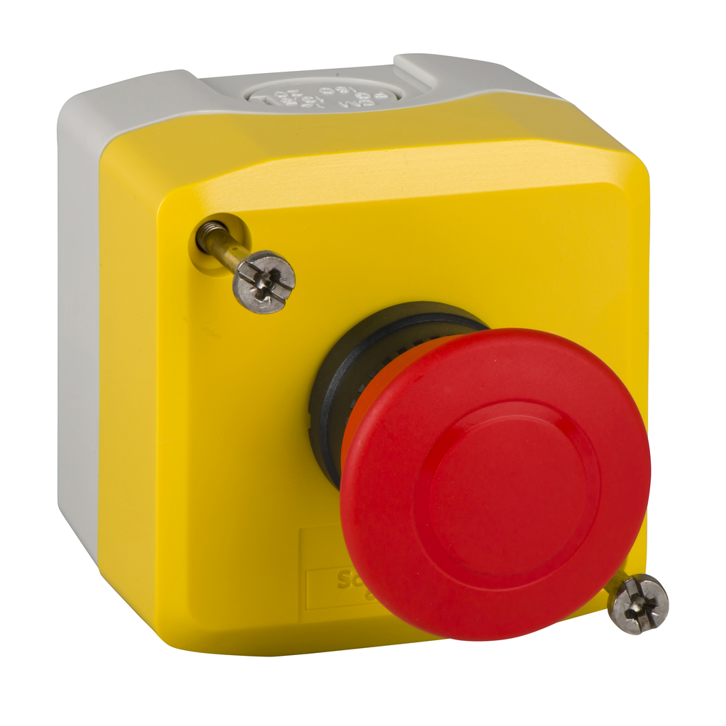 Harmony, yellow control station, red mushroom head push button, 40 mm push pull, 1 NC