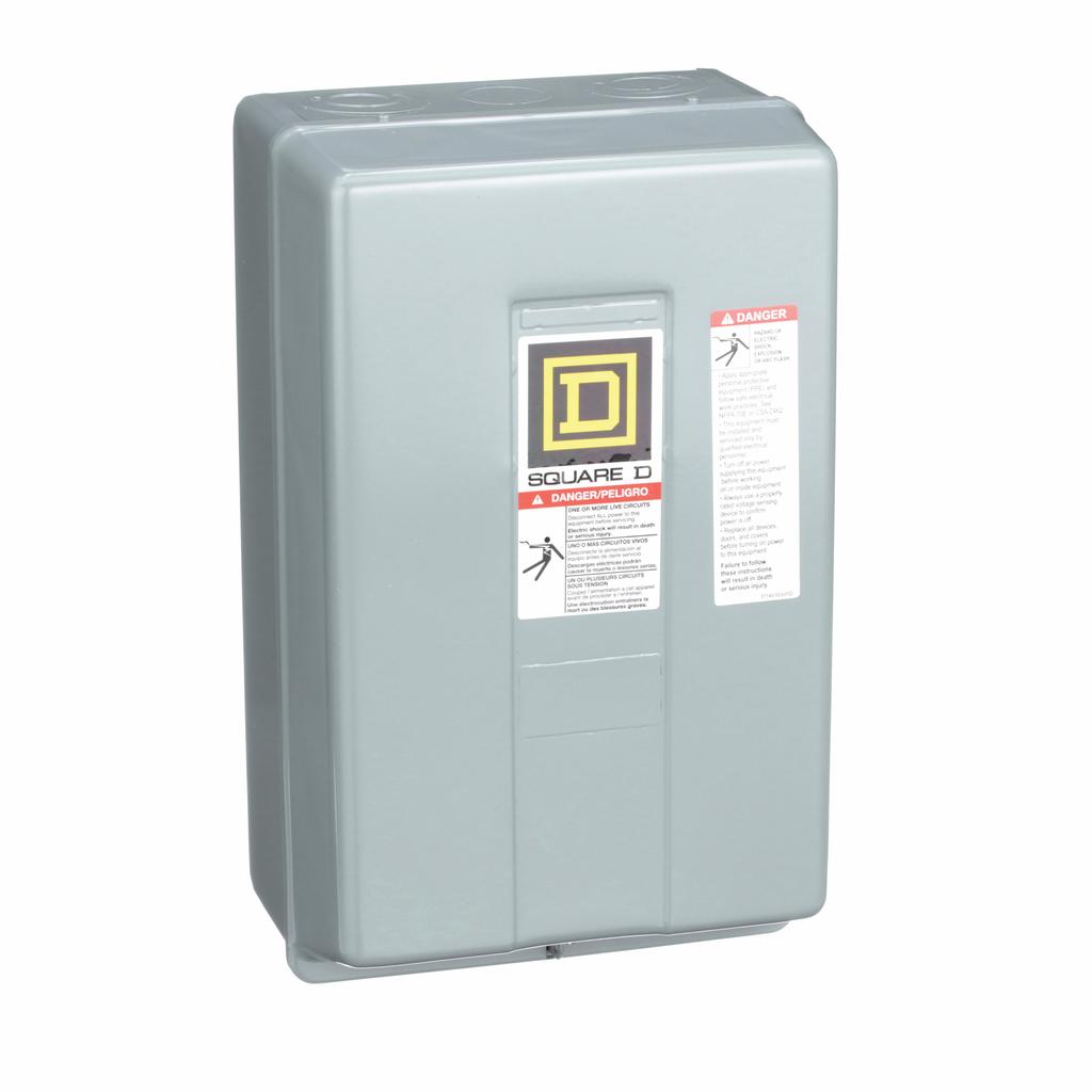 8903L electrically held lighting contactor, 3 P, 3 NO, 30 A, 600 V, 110/120 V 50/60 Hz coil, NEMA 1