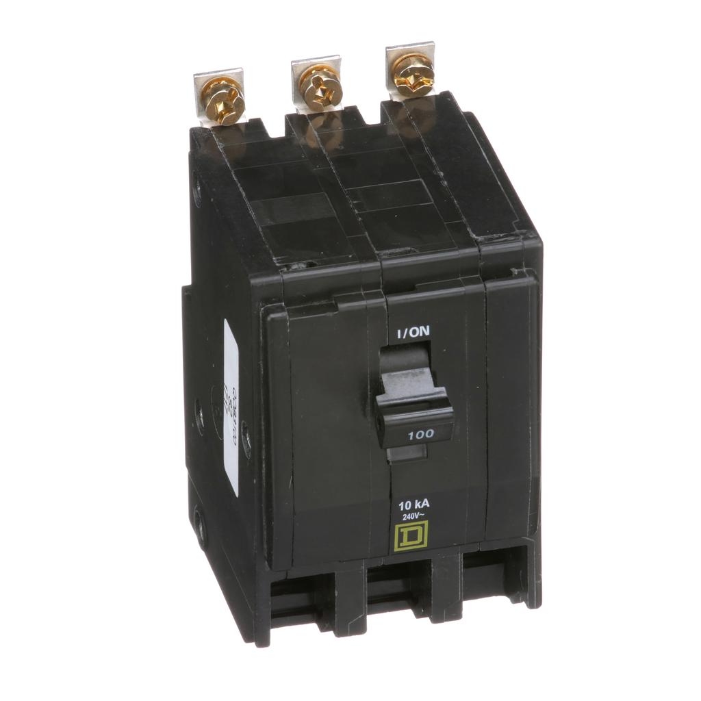 QO mini breaker, 100 A, 3 pole, 120/240 V, 10 kA, bolt on