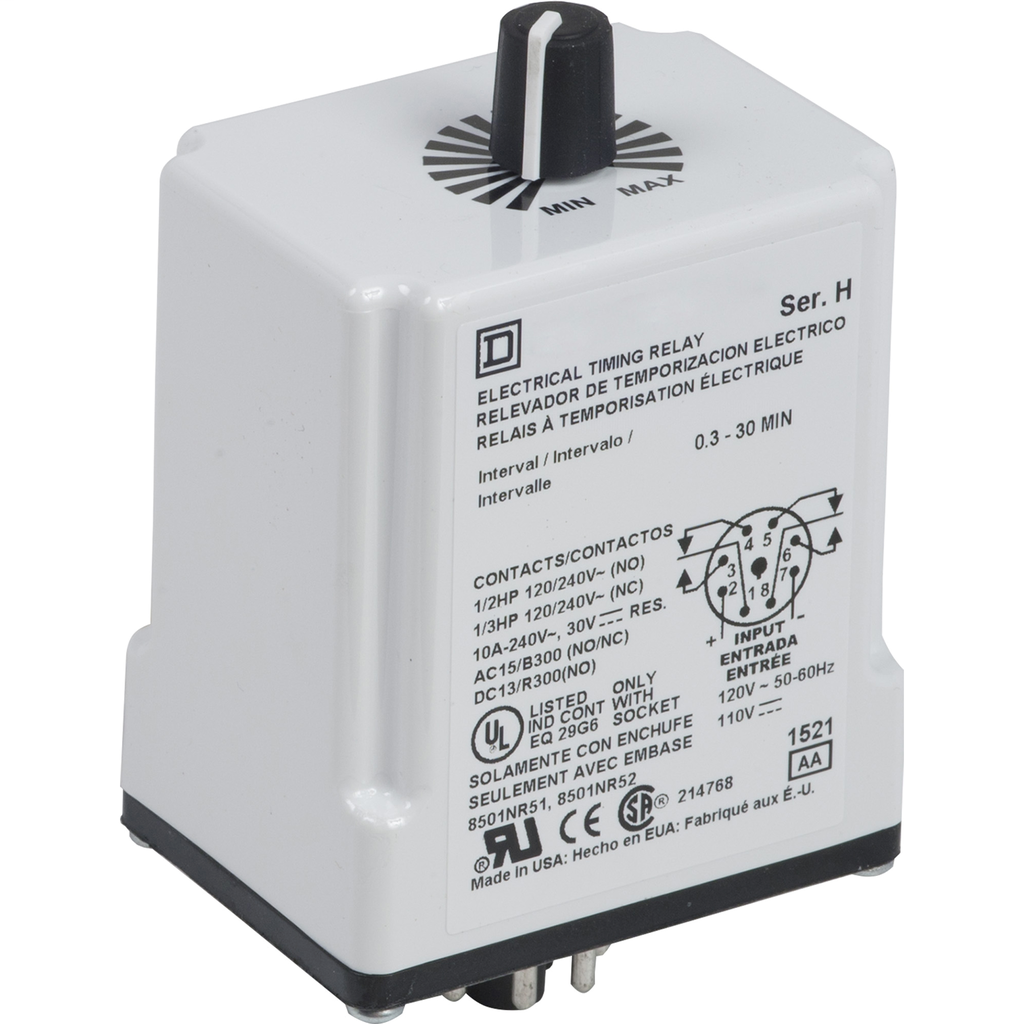 Plug In Timer, interval, 0.1 to 10 minutes, 120 VAC 110 VDC