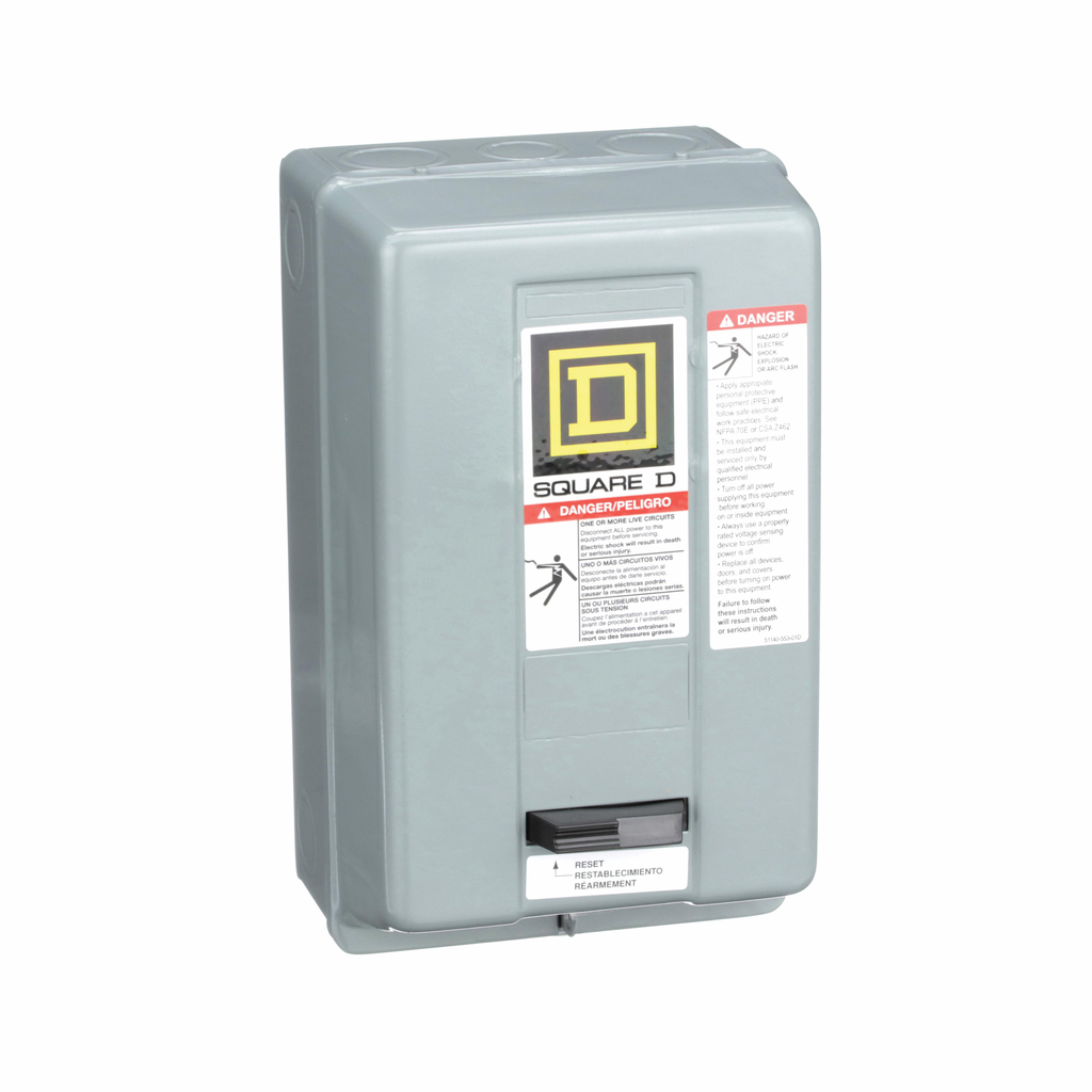 Type S nonreversing magnetic starter, NEMA Size 0, 3 P, 110/120 VAC 50/60 Hz coil, melting alloy overload, NEMA 1