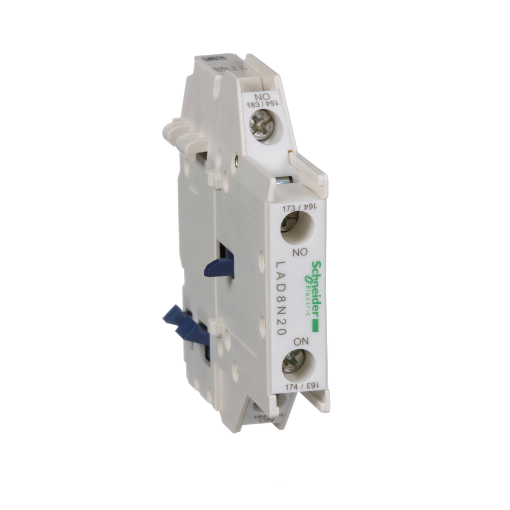 TeSys D, auxiliary contact block, 2 NO, side mount, screw clamp terminals, for LC1D09 to LC1D150 contactors