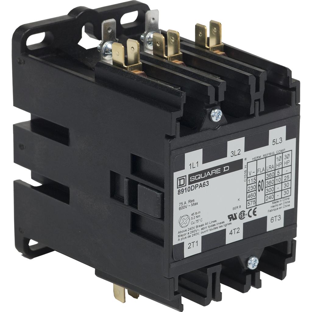 8910DPA definite purpose contactor, 60 Amp, 3 P, 220/208 to 240 V 50/60 Hz coil, open
