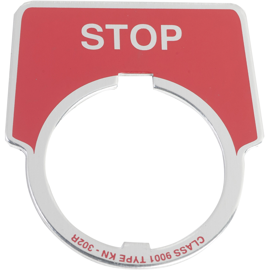 30MM LEGEND PLATE - STOP (RED)