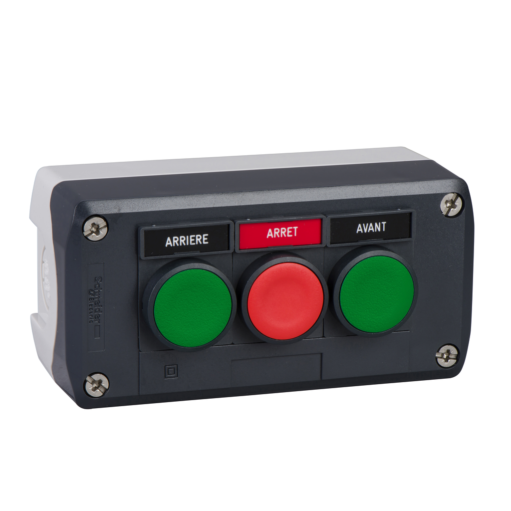 Dark grey station - green flush/red flush/green flush pushbuttons Ø22