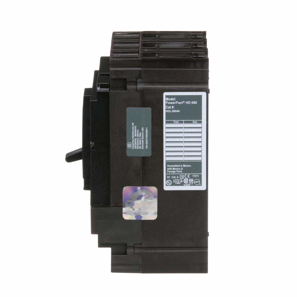 PowerPact H Circuit Breaker,ThermMagn,40A,3P,600V,14kA