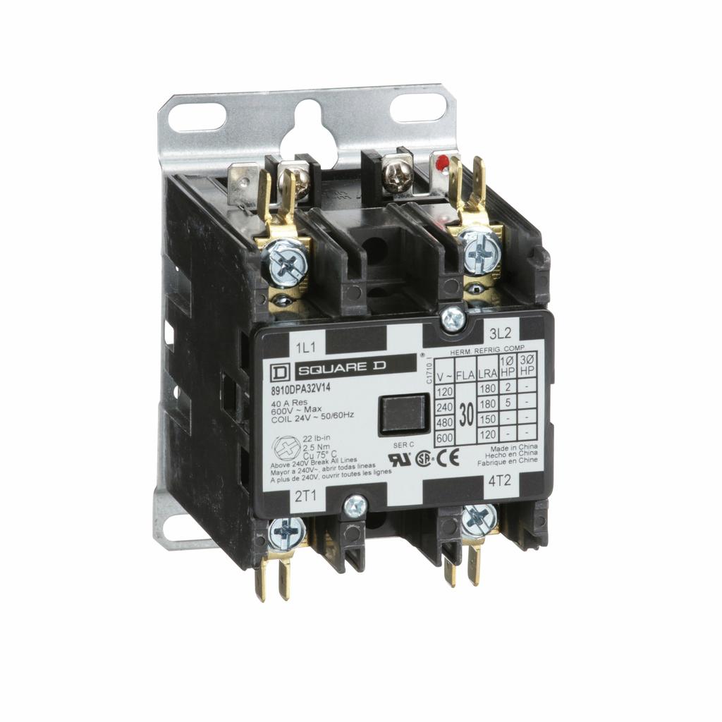 8910DPA definite purpose contactor, 30 Amp, 2 P, 24/24 V 50/60 Hz coil, open