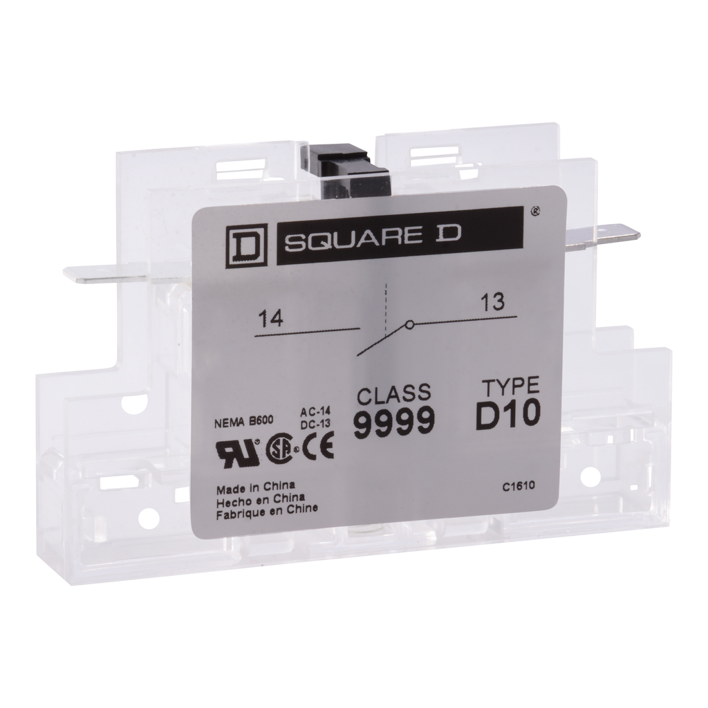 Auxillary contact, 8910DPA, 1 NO, 50 to 90 A contactor, 5 A at 120 VAC