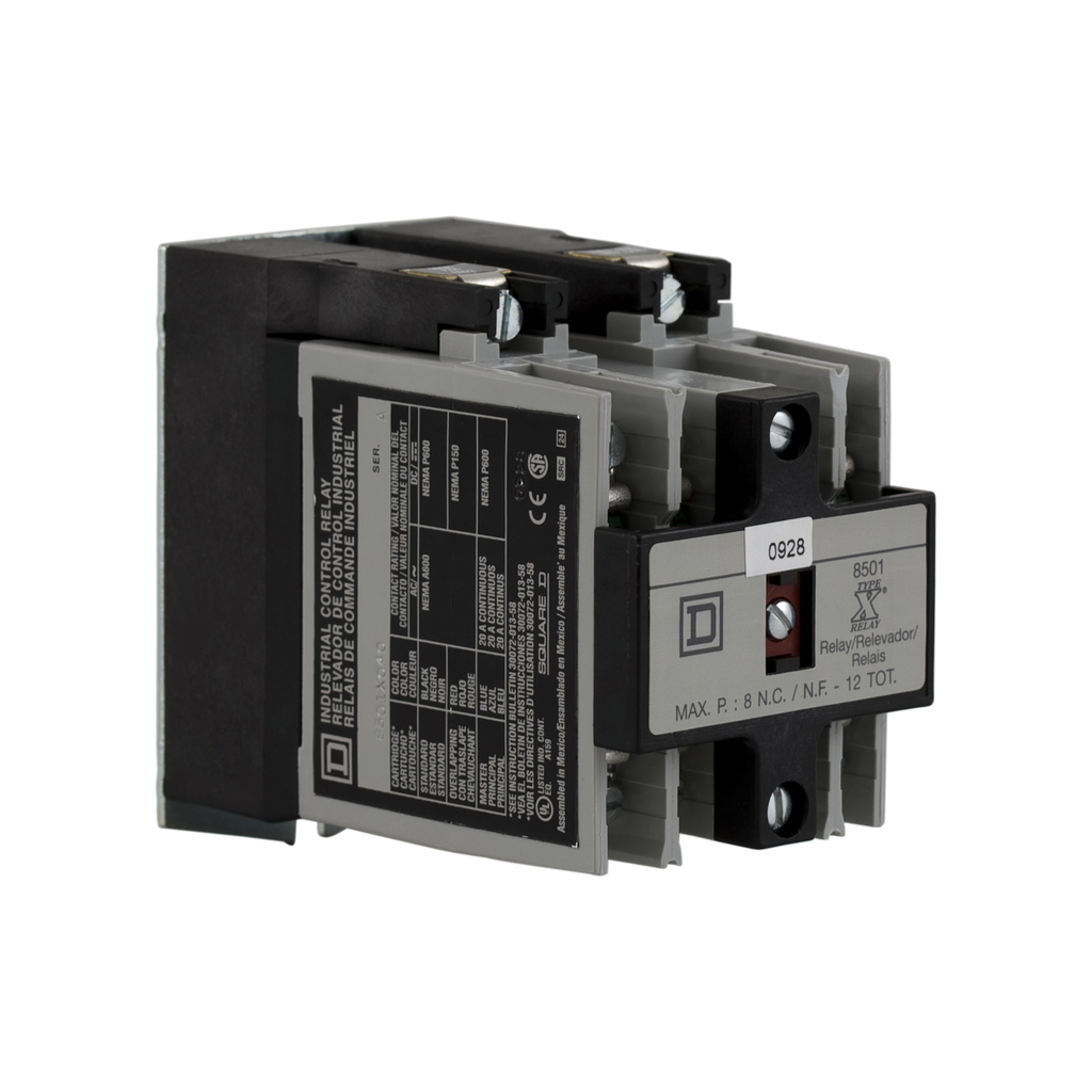 NEMA Control Relay, Type X, 4 NO contacts, 10 A, 600 VAC, with 110 /120 VAC 50/60 Hz coil