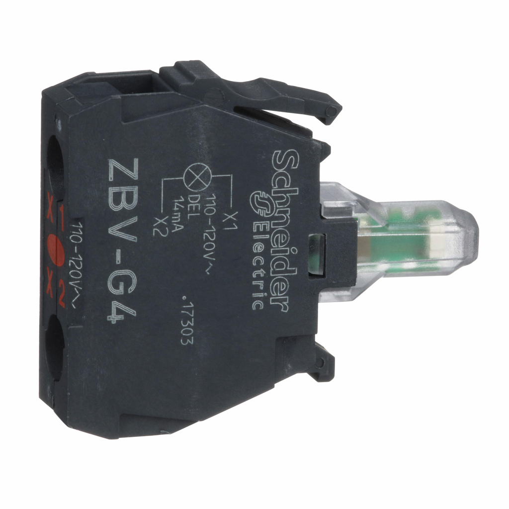Harmony, 22mm Push Button, light module, integral LED 120 VAC, red, screw clamp terminals