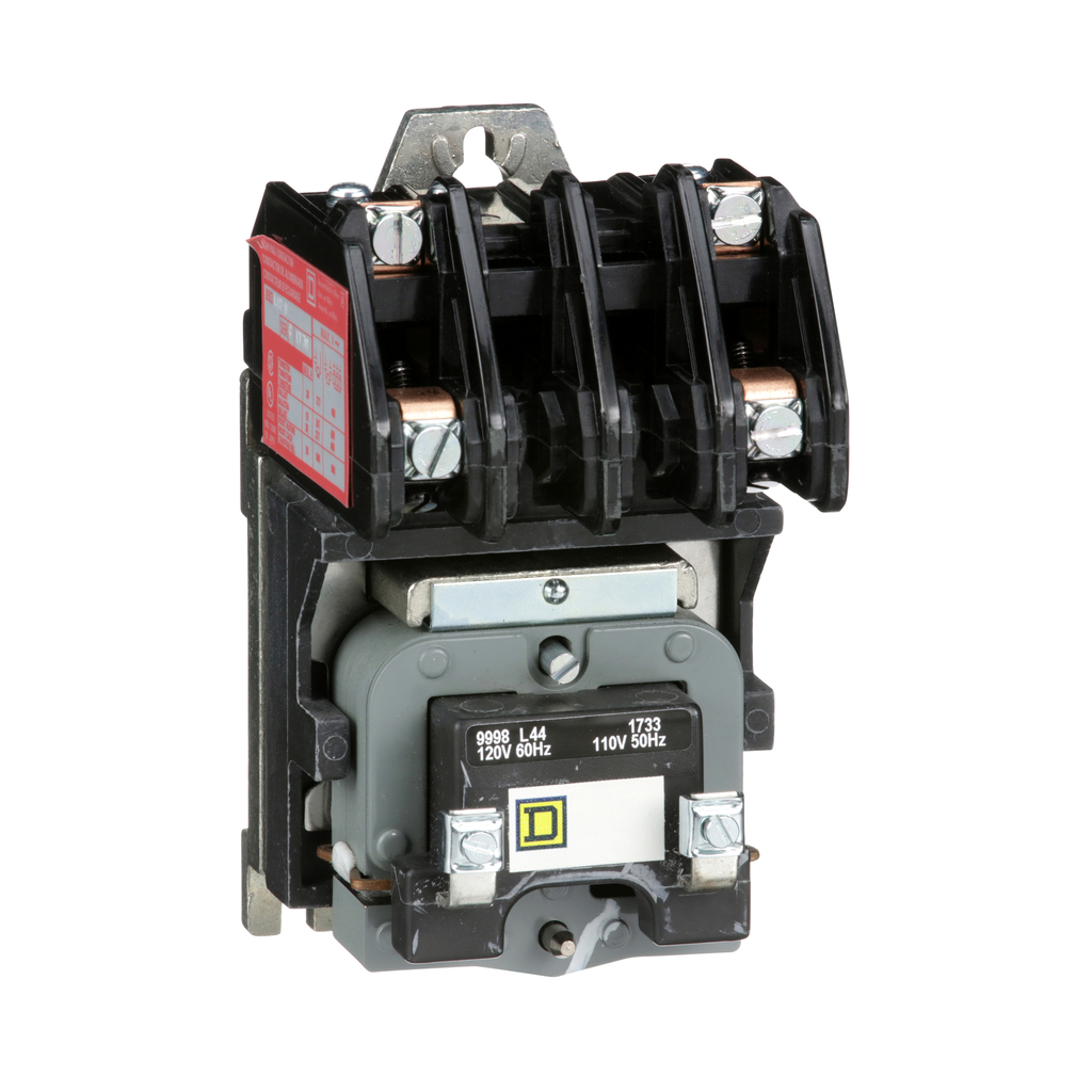 8903L electrically held lighting contactor, 2 P, 2 NO, 30 A, 600 V, 110/120 V 50/60 Hz coil, open
