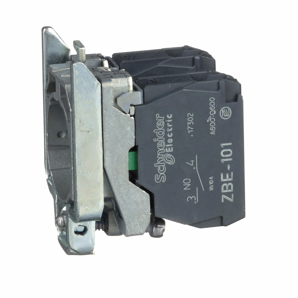 Harmony, 22mm Push Button, XB4B operators, contact block, with mounting collar, 2 NO, screw clamp terminal