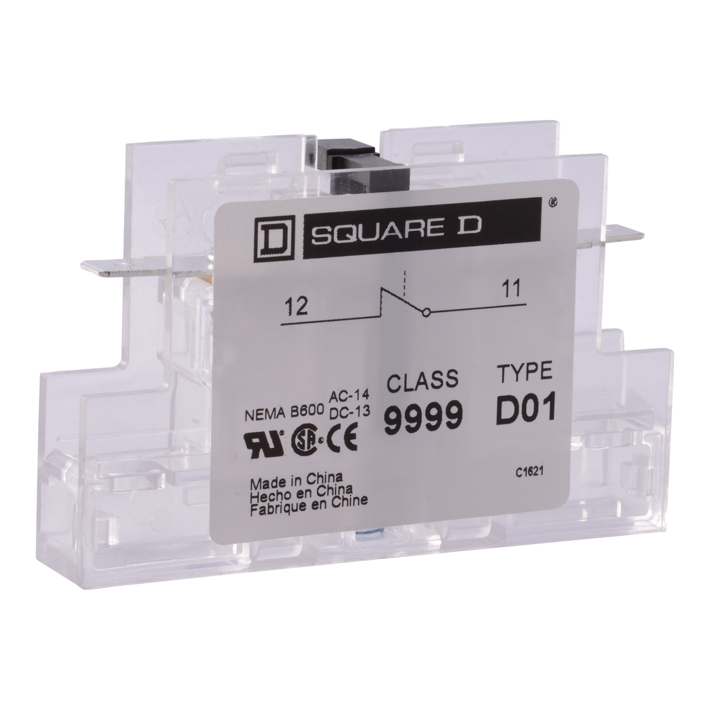 Auxillary contact DPA, 1 NC, 50-90 A contactor, 5A at 120VAC