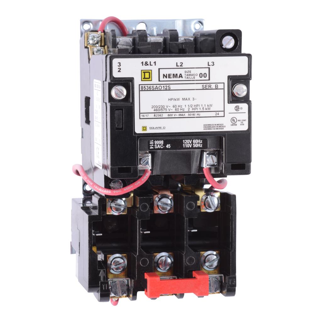 Type S nonreversing magnetic starter, NEMA Size 00, 3 P, 110/120 VAC 50/60 Hz coil, melting alloy overload, open