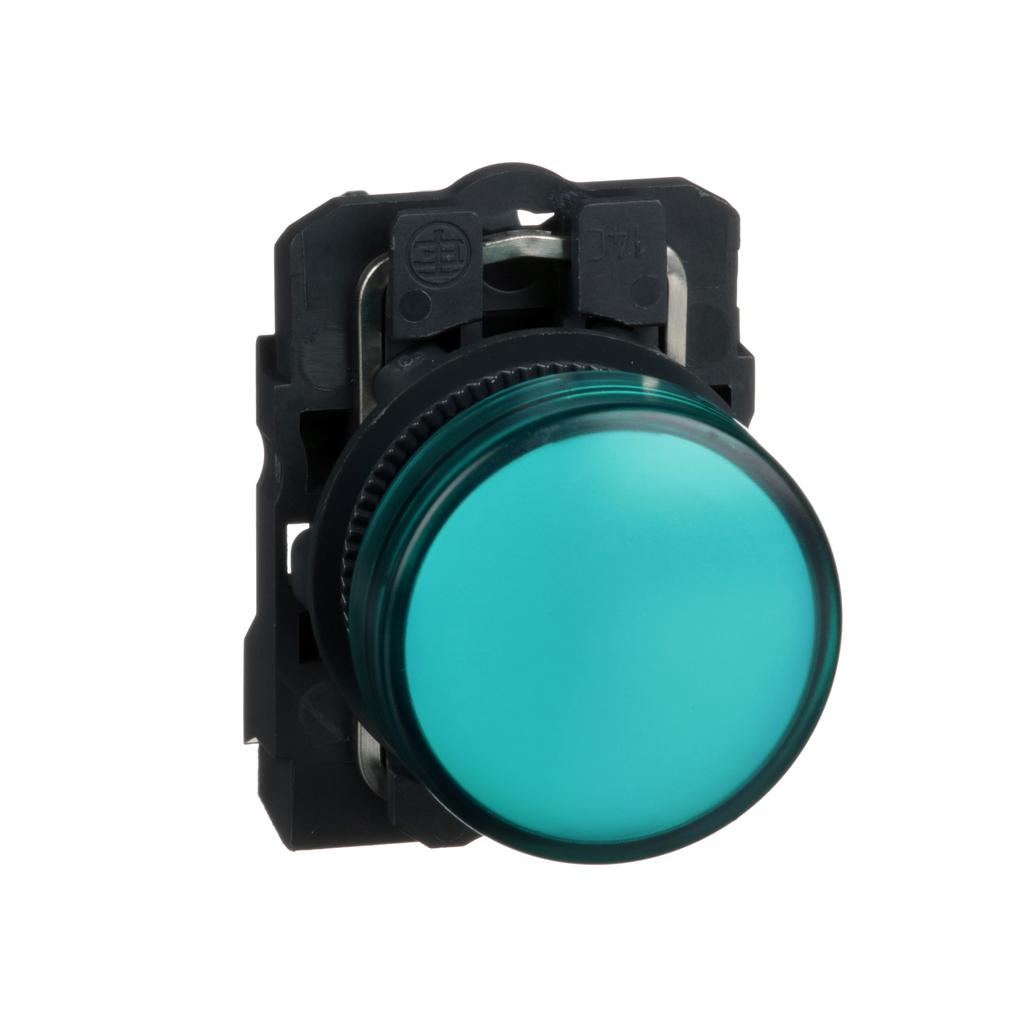 Harmony, 22mm pilot light, green lens, 120 V LED