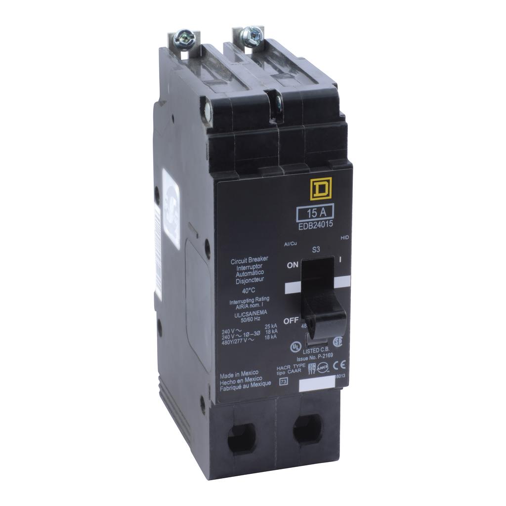 E Frame, circuit breaker, 15 A, 2 pole, 480Y/277 V, 18/25 kA, bolt on