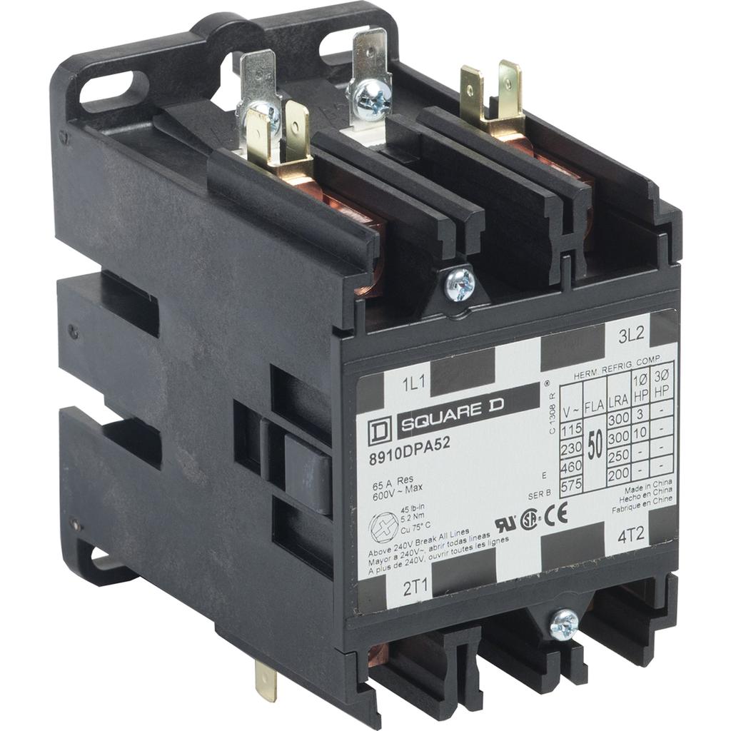 8910DPA definite purpose contactor, 50 A, 2P, 208/240 V 60 Hz coil 220 V 50 Hz, open