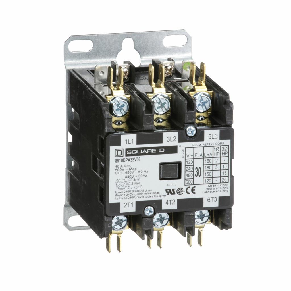 8910DPA definite purpose contactor, 30 Amp, 3 P, 440/480 V 50/60 Hz coil, open
