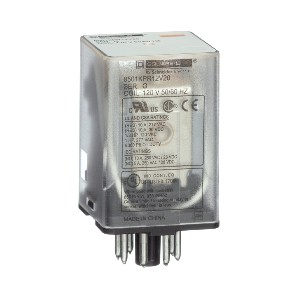 Plug in relay, flange mounted, DPDT, 10 amp at 277 VAC, 110 VDC coil