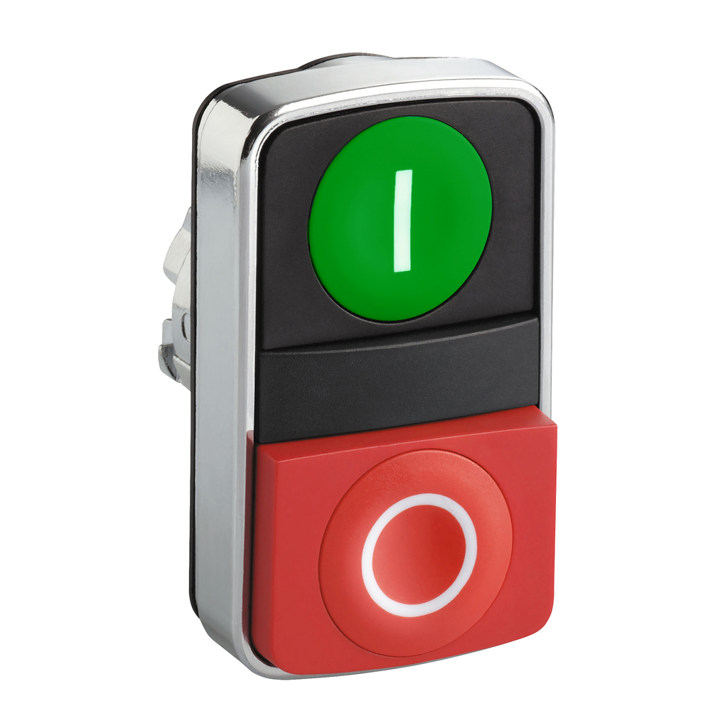 Green flush/red projecting double-headed pushbutton Ø22 with marking