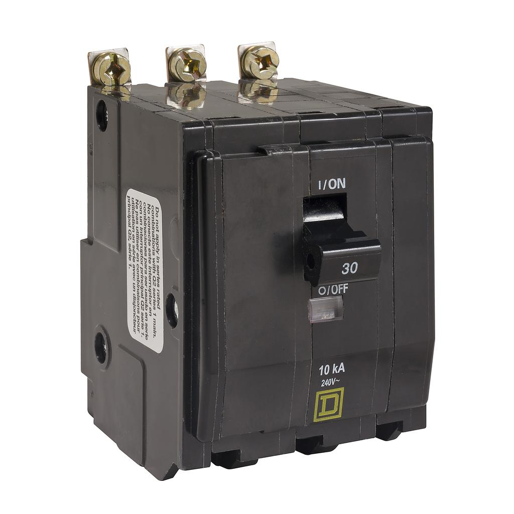 QO mini breaker, 30 A, 3 pole, 120/240 V, 10 kA, bolt on