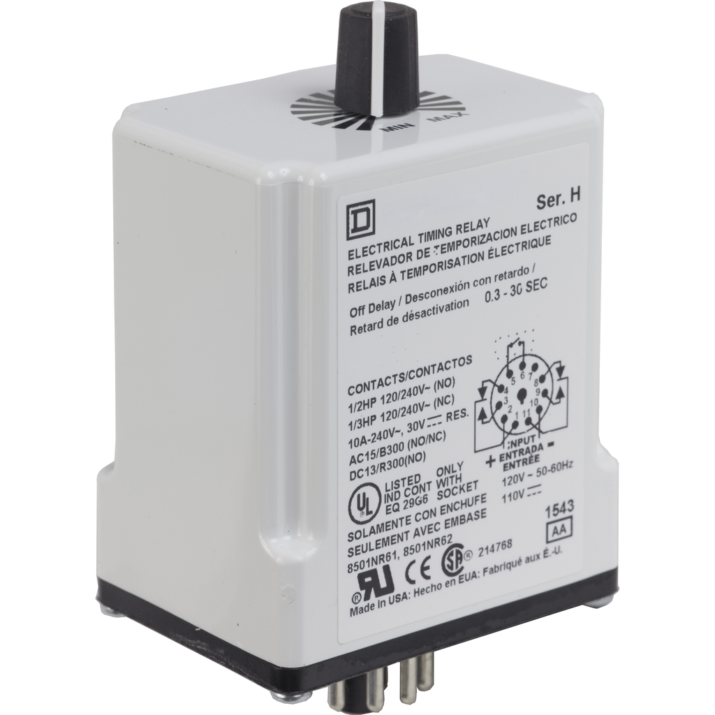 Plug In Timer, interval, 0.1 to 10 minutes, 24 VAC/DC