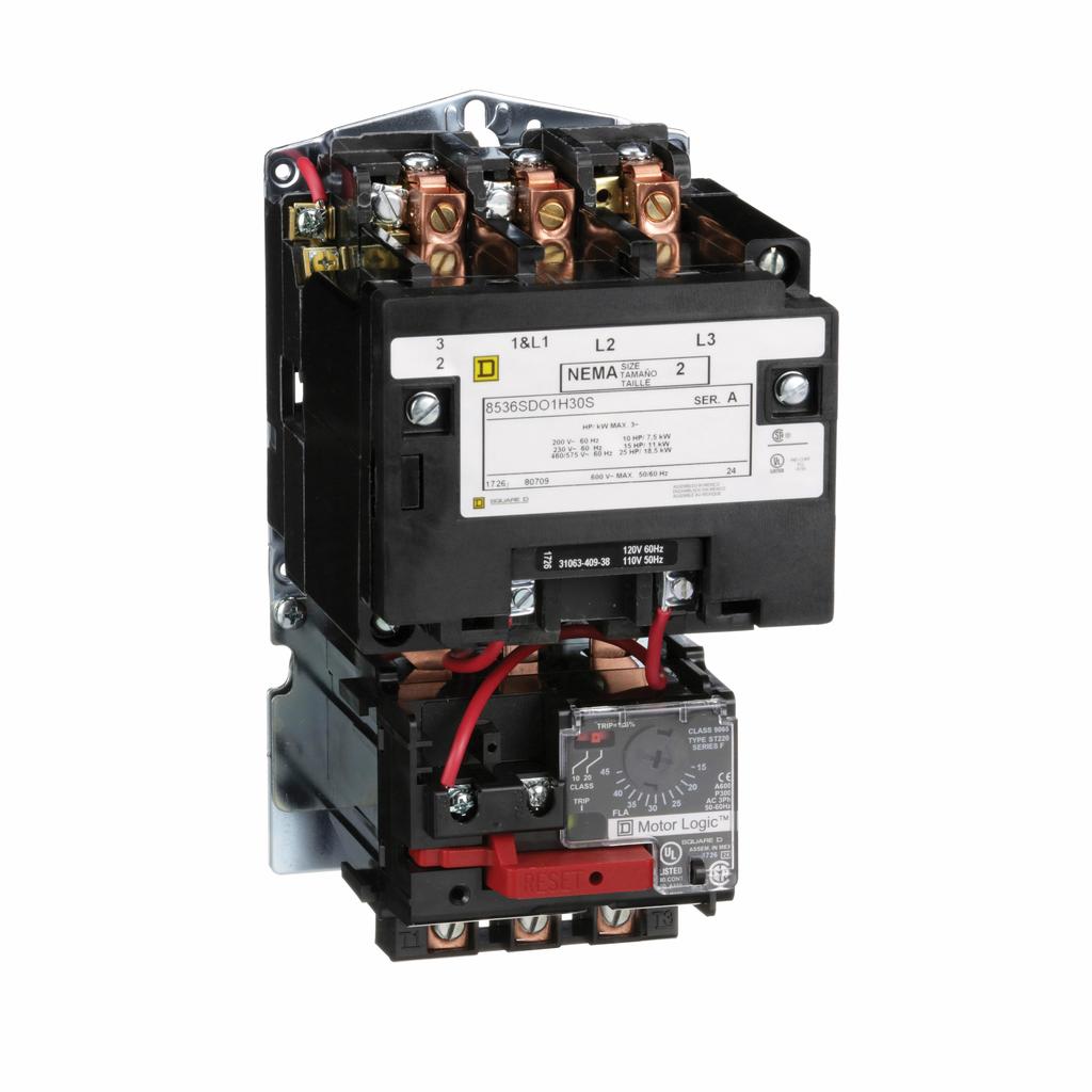 Type S nonreversing magnetic starter, NEMA Size 2, 3 P, 110/120 VAC 50/60 Hz coil, Motor Logic overload, open