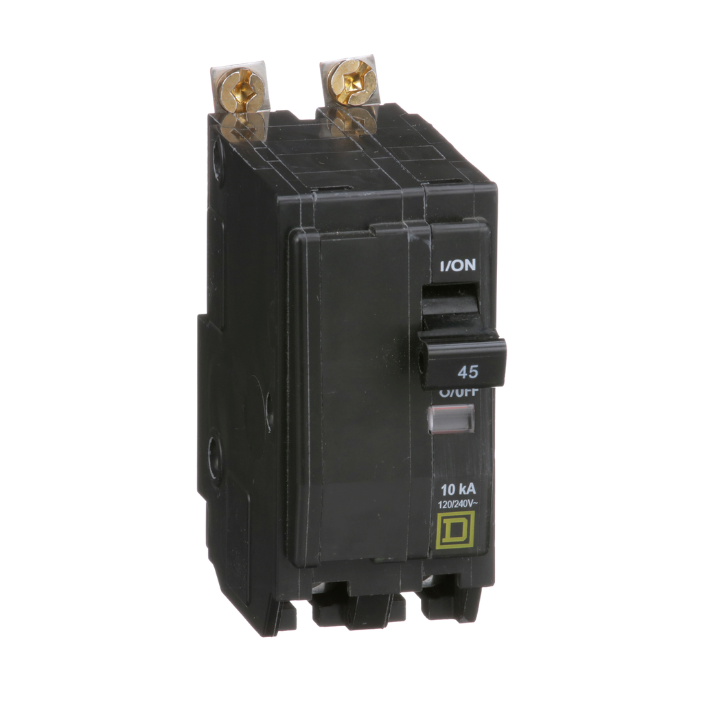 QO mini breaker, 45 A, 2 pole, 120/240 V, 10 kA, bolt on