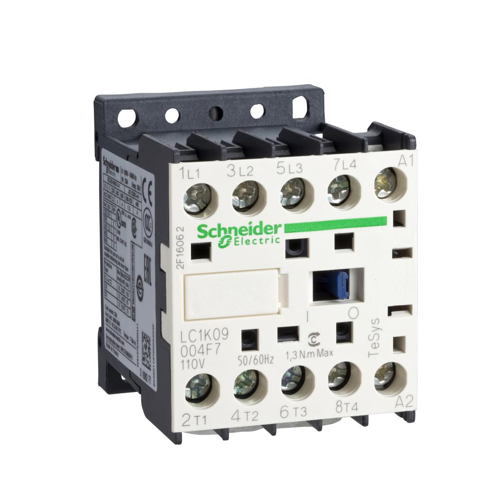 TeSys K contactor - 4P (2 NO + 2 NC) - AC-1 <= 440 V 20 A - 110 V AC coil