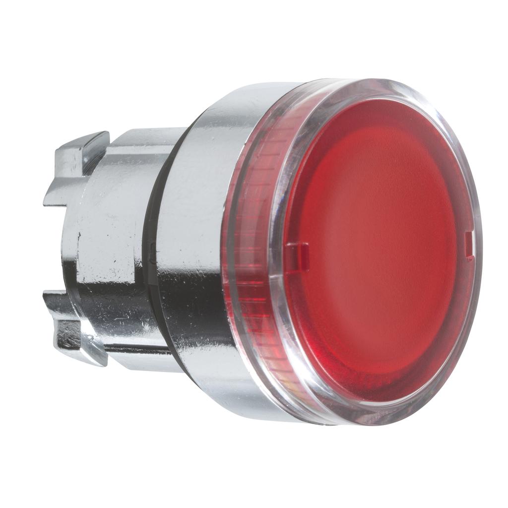 Harmony, 22mm Push Button, illuminated push button head, flush, spring return, red, for integral LED