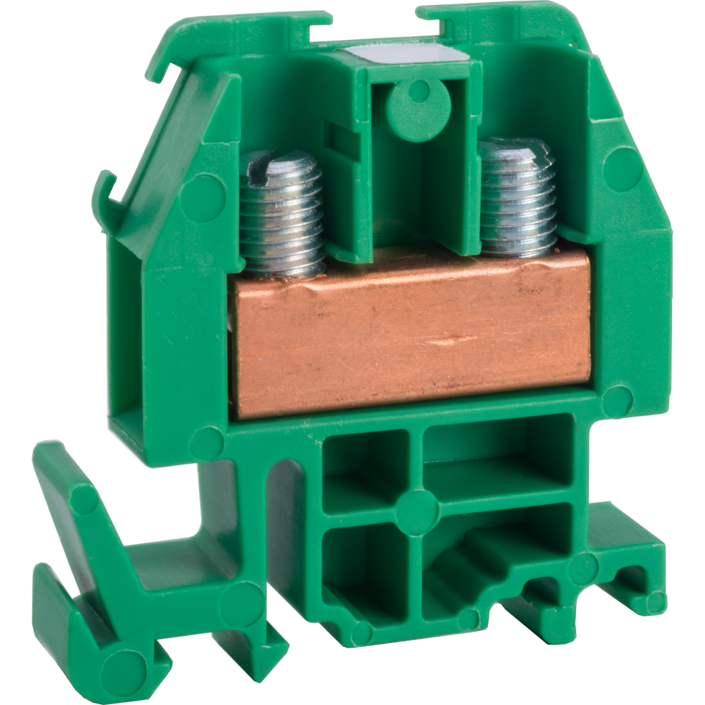 Linergy terminal block, box lug connector, green colored block, 60 Amp, 600 VAC / VDC
