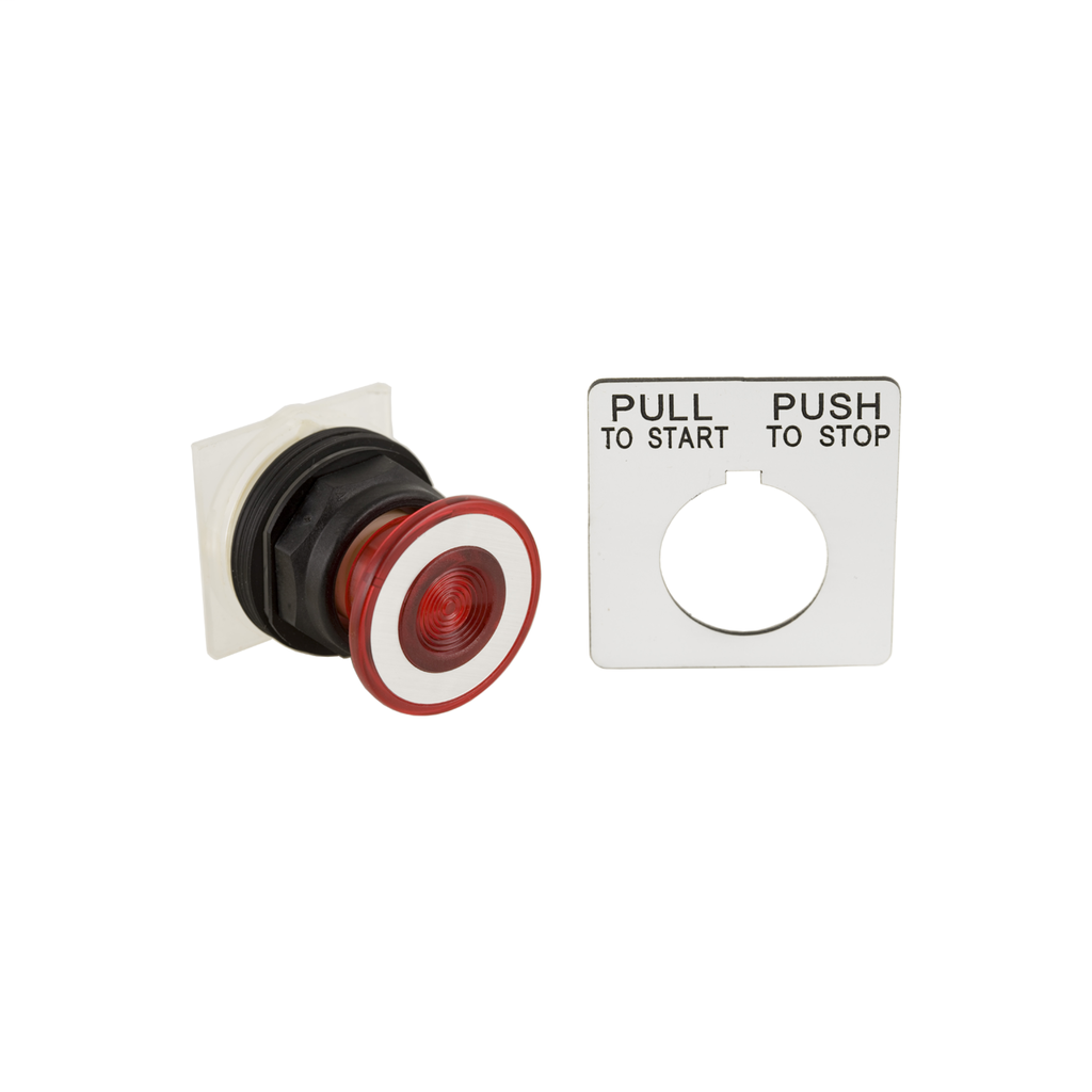 30mm Push Button, Type SK, push pull operator, red mushroom cap