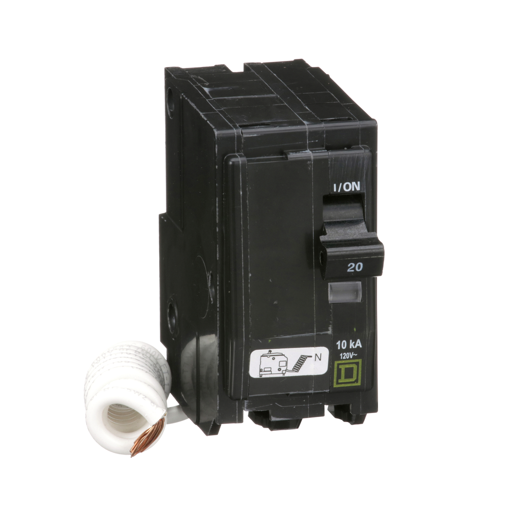 QO mini breaker, 20 A, 2 pole, 120 V, 10 kA, plug in, SWN