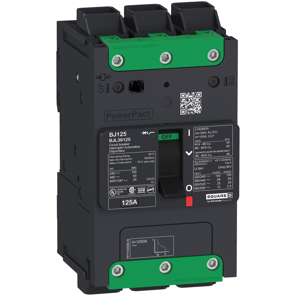 PowerPact B Circuit Breaker, 30A, 3P, 600Y/347V AC, 14kA at 600Y/347 UL EverLink