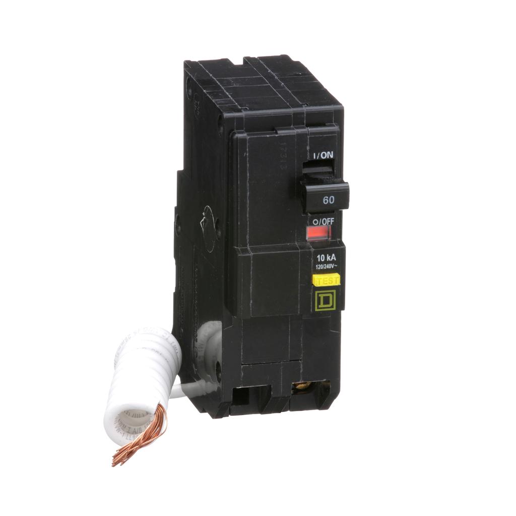 Mini CB, QO, 60 A, 2P, 120/240 V, 10 kA, Plug in, GFI