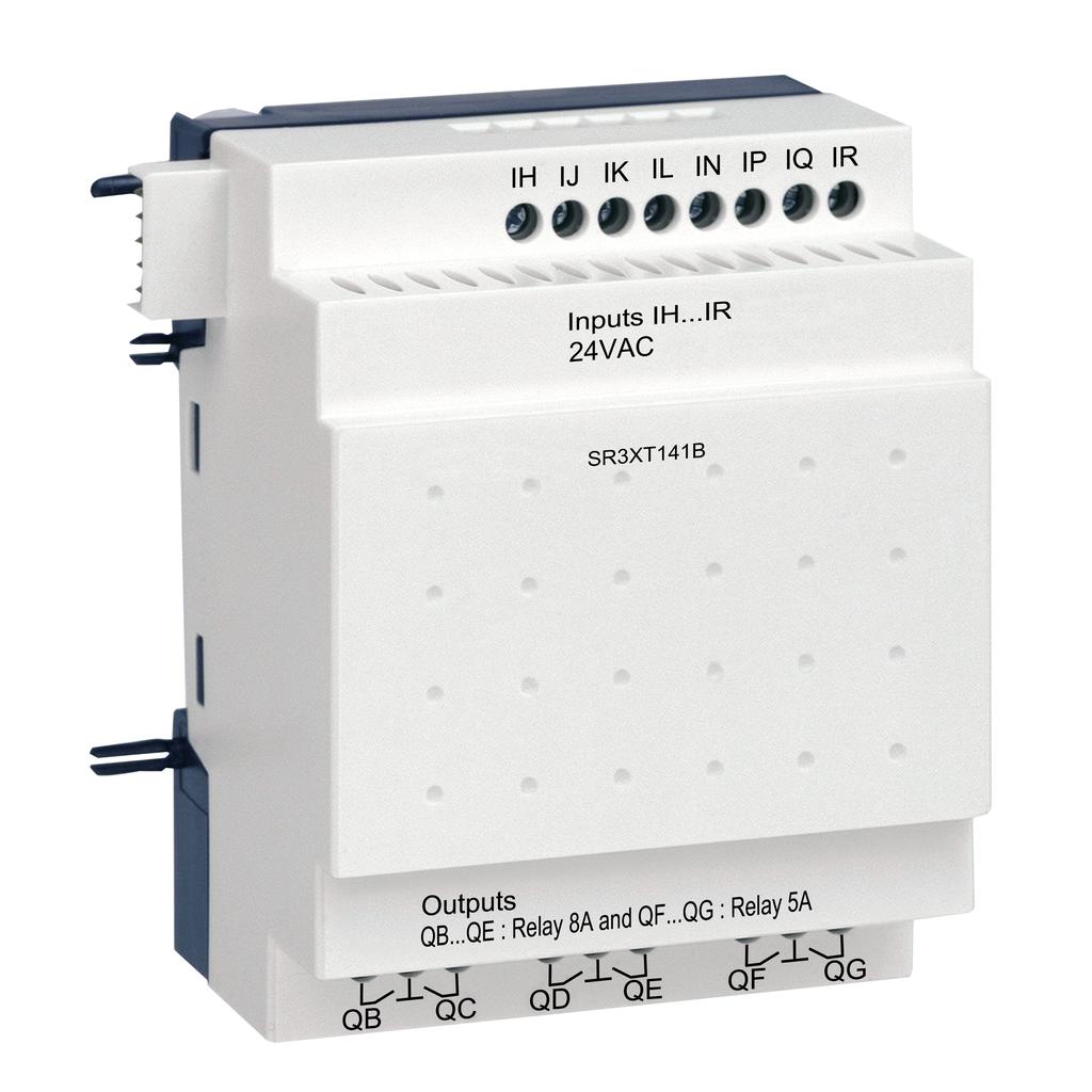 Discrete I/O extension module - 14 I O - 24 V AC - for Zelio Logic