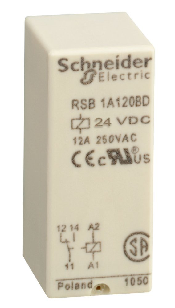 Interface plug-in relay - Zelio RSB - 1 C/O - 24 V DC - 12 A